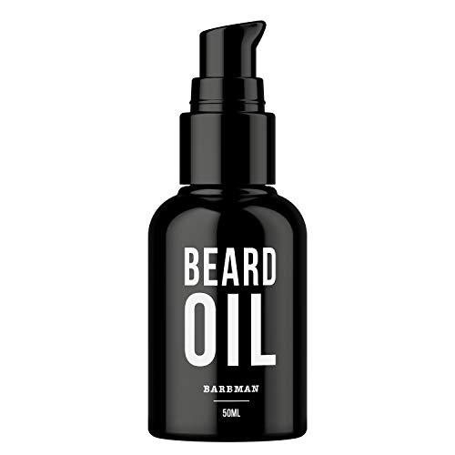 BARBMAN: Olio da barba naturale. Arricchito con olio di jojoba e semi d'uva per idratare e nutrire la pelle. Mantieni la tua barba aggiungendo lucentezza e morbidezza. Regalo ideale per uomini barbuti
