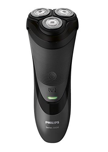 Philips SHAVER Series 3000 - Rasoio (batteria / alimentazione, ioni di litio, rotazione, nero, ergonomico, SH30)