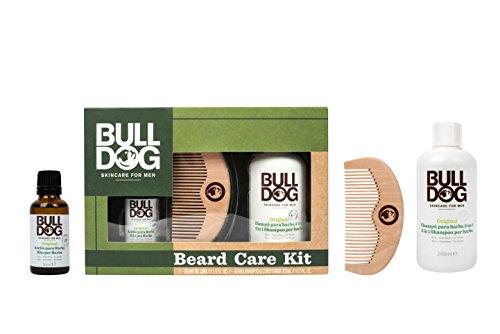 Bulldog Skincare for Men Pack - Kit per la cura della barba, Olio per barba + Shampoo e balsamo per barba + Pettine