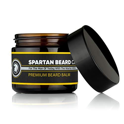 Spartan Beard Balm (60 ml) - Balsamo leave-in per uomo, riduce l'effetto crespo, arricciature e doppie punte - I capelli lisci e combattono la pelle secca - Cera d'api e mandelöl