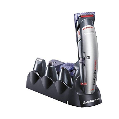 Tagliacapelli BaByliss X10 per viso, capelli e corpo, con lame W-tech professionali e 10 accessori, nero e grigio