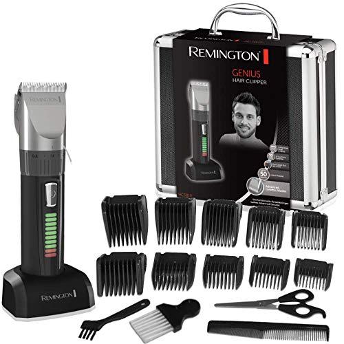 Remington Genius HC5810 - Tagliacapelli, Lame in ceramica, Ricaricabile, 10 pettini, Funzioni professionali, Colore nero