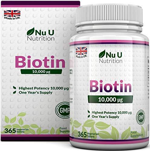 Biotina 10.000 MCG | 365 compresse (fornitura annuale) | Integratore alimentare per la caduta dei capelli | Integratore alimentare Nu U Nutrition