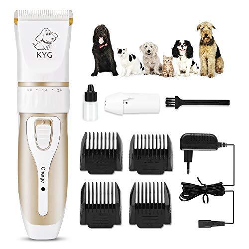 Tagliacapelli elettrico per cani / animali domestici a basso rumore e vibrazioni - kit tagliacapelli professionale / buon regalo per cani e gatti con 4 pettini (3/6 / 9/12 cm) regolabile per capelli diversi