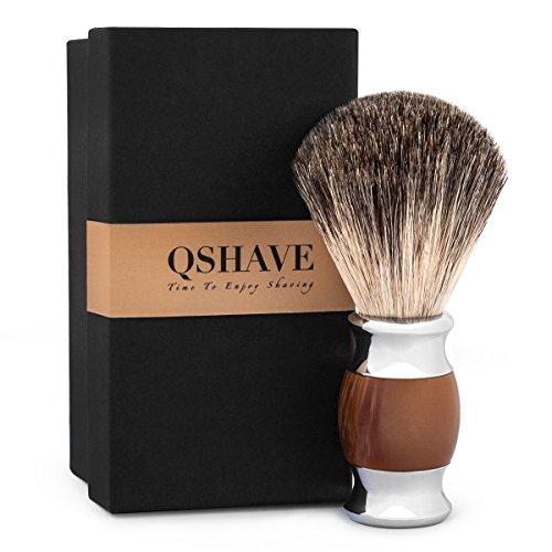 QShave - Pennello da barba, pelo di tasso puro e autentico al 100% e manico in resina plastica, fatto a mano, -