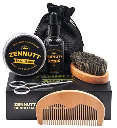 Kit per la cura della barba con shampoo per barba, pettine per barba, spazzola per barba, olio per barba, balsamo per barba, forbici per barba, custodia, libro elettronico per barba, regali originali per uomo