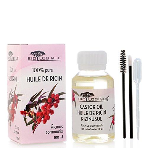 Olio di ricino - Olio puro al 100% spremuto a freddo - Stimola la crescita di capelli, ciglia e sopracciglia, rinforza le unghie - con kit applicatore di trattamento - 100 ml