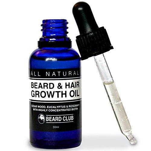 Olio per barba e capelli | 30ml | Con un'alta concentrazione di biotina | Profumo di legno di cedro, eucalipto e rosmarino | La migliore soluzione per una barba irregolare